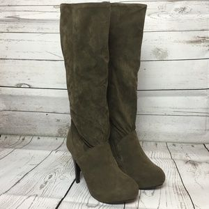 Taupe High Heel Tall Below Knee Boots